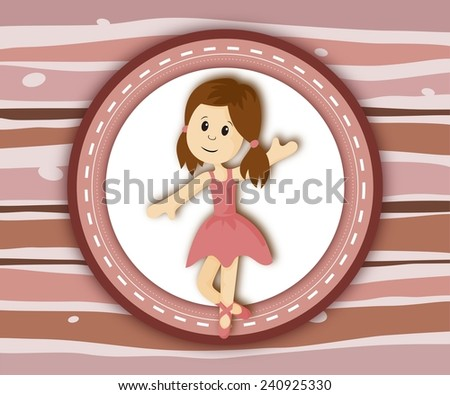 Cute little ballerina girl label card on stripey pink background - stock photo