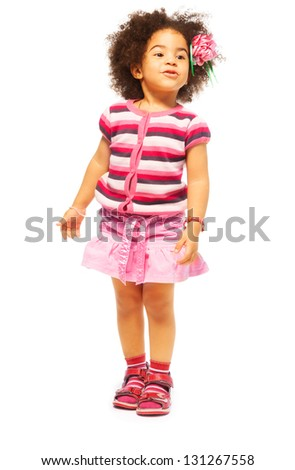 Cute little black girl with fuzzy hair full length portrait, isolated on white - stock photo