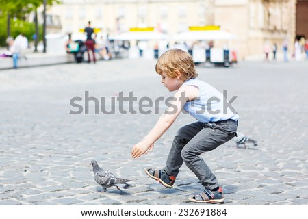 Cute little blond boy catching and playing with pigeons on a city place - stock photo