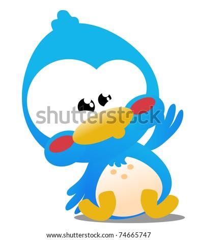 Cute little blue toon bird icon - stock photo