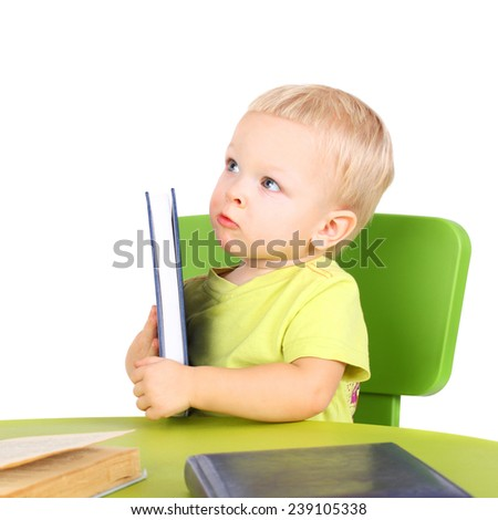 cute little boss with the books and diary - stock photo