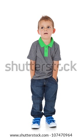 Cute little boy. All on white background.