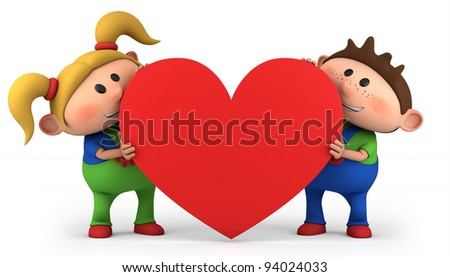 cute little boy and girl holding a red heart - high quality 3d illustration - stock photo