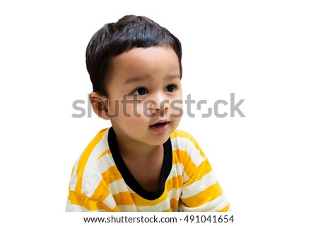 Cute little boy asian thailand isolated on white background.
