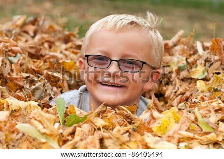 Cute Little Boy Buried in Autumn Leaves - stock photo