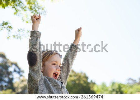 Cute little boy cheering in park on a sunny day - stock photo