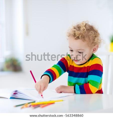 Cute Little Girl Doing Homework Reading Stock Photo 373596925 ...