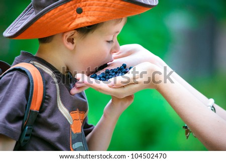Cute little boy eating berries from mother's hand - stock photo