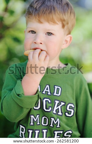 Cute little boy eating outdoors