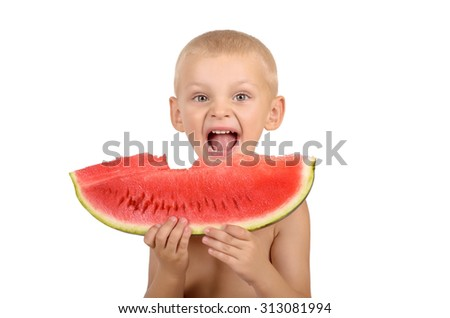 Cute little boy eating watermelon isolated on white background