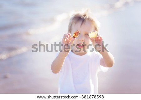 Cute little boy holding seashells on a beach