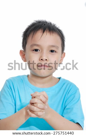 cute little boy in studio - stock photo