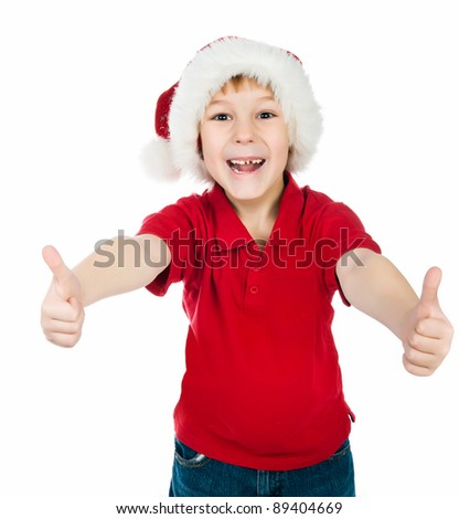Cute little boy in the santa claus hat