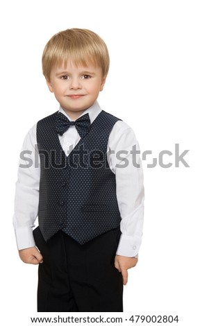 Cute little boy in white shirt, vest and bow tie- Isolated on white background