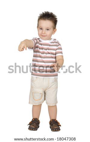 Cute little boy isolated on white background