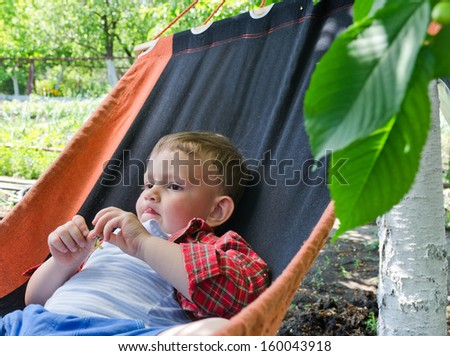 Cute little boy relaxing in a hammock in the shade of the trees in the vegetable garden as he rests during the summer midday heat - stock photo