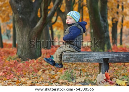 Cute little boy sitting on a bench in the autumn park