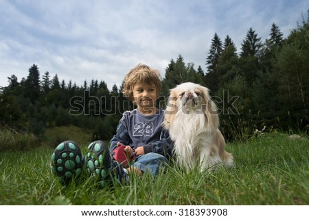 Cute little boy sitting with his dog in the meadow. - stock photo
