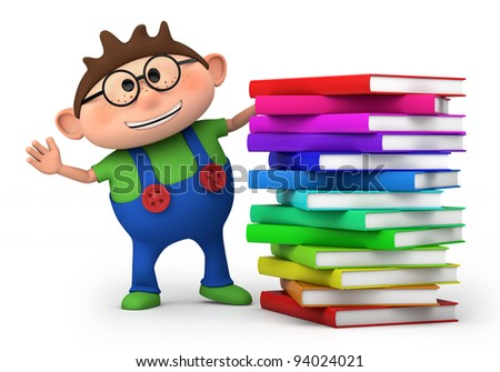 cute little boy waving from behind a stack of books - high quality 3d illustration - stock photo