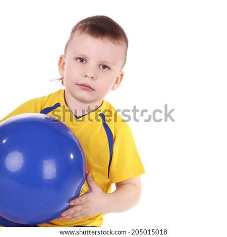 cute little boy with a blue ball in his hands