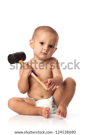 Cute little boy with a hammer over white background - stock photo