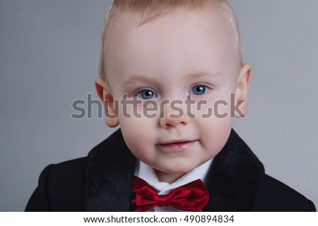 cute little boy with bow tie