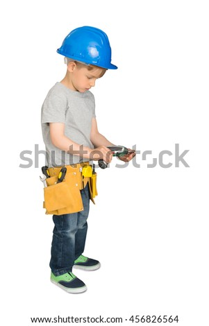 Cute Little Boy With Drilling Machine Over White Background