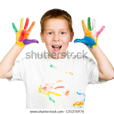 cute little boy with hands in paint isolated on white background
