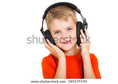 cute little boy with headphones isolated on white - stock photo