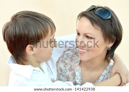 cute little boy with his mother - stock photo