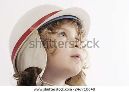 cute little boy with protect cap - stock photo
