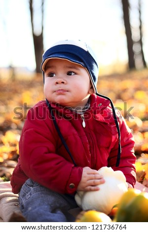 cute little boy with ripe vegetables in autumn park