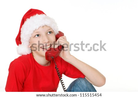 cute little boy with telephone on white
