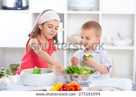 Cute little brother and sister preparing healthy vegan meal - stock photo