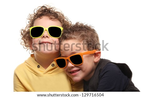 Cute little brothers together - stock photo