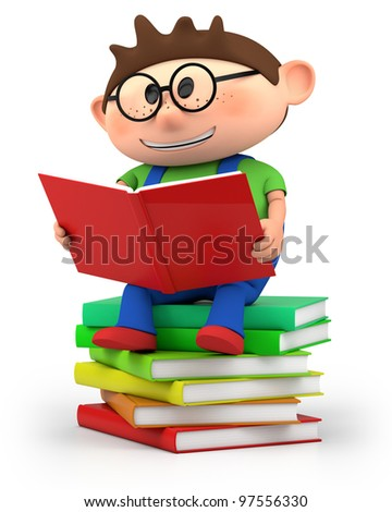 cute little cartoon boy sitting on books reading - high quality 3d illustration - stock photo