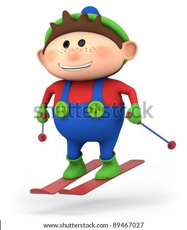 cute little cartoon boy skiing - high quality 3d illustration - stock photo
