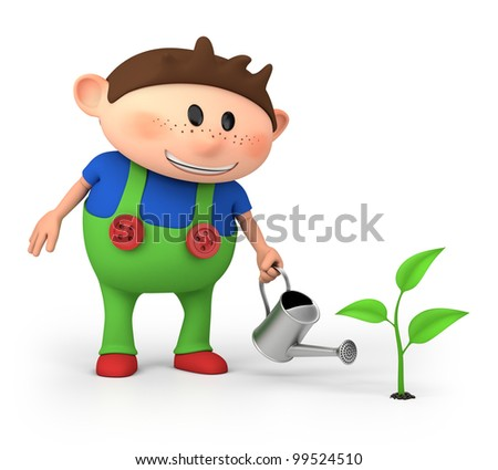 cute little cartoon boy watering sprout - high quality 3d illustration - stock photo