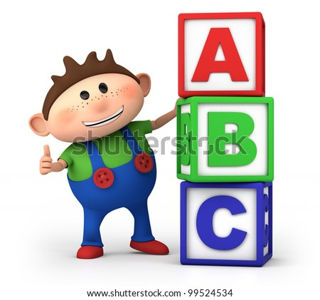 cute little cartoon boy with stack of ABC blocks - high quality 3d illustration - stock photo