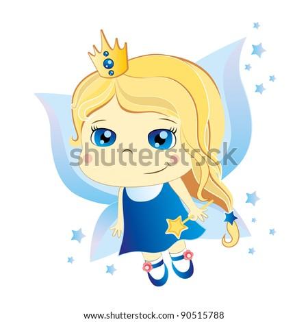cute little cartoon fairy with blue eyes - stock photo
