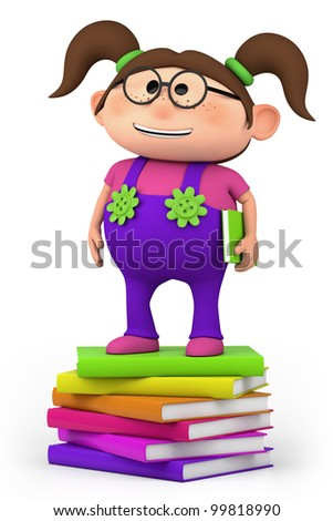 cute little cartoon girl standing on stack of books - high quality 3d illustration - stock photo