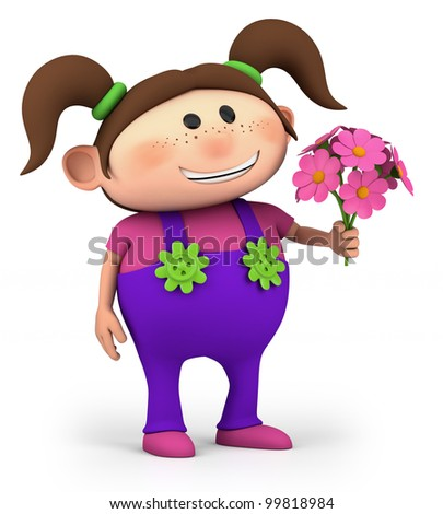 cute little cartoon girl with bouquet of flowers - high quality 3d illustration - stock photo