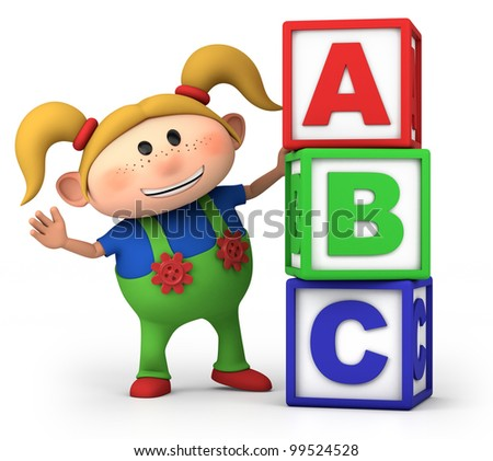 cute little cartoon girl with stack of ABC blocks - high quality 3d illustration - stock photo