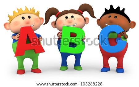cute little cartoon kids holding ABC letters - high quality 3d illustration - stock photo
