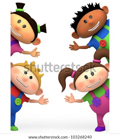 cute little cartoon kids waving from behind blank sign - high quality 3d illustration