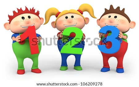cute little cartoon kids with 123 numbers - high quality 3d illustration - stock photo