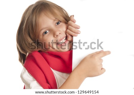 cute little child  a white board,for you messages - stock photo