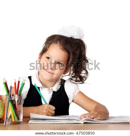 cute little child drawing something isolated on white - stock photo