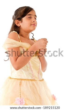 Cute little child dream with clothe eyes  - stock photo