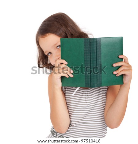 cute little child looking out of the book